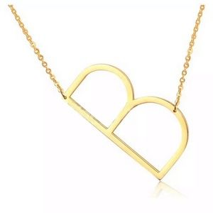 Jewelry - B Block Letter Monogram Stainless Steel Necklace